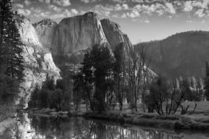 Yosemite Falls from Swinging Bridge. Yosemite National Park, California.